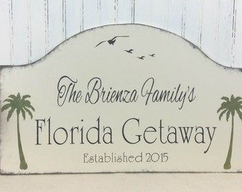 Florida getaway sign, personalized beach house sign, tropical custom sign, palm trees decor, custom Florida sign, retirement, snowbird sign,