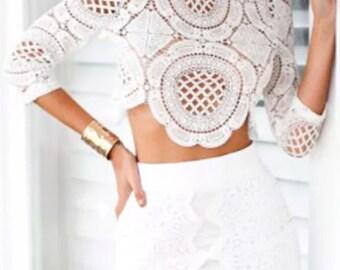 Lace Crochet Blouse SUPERDEAL