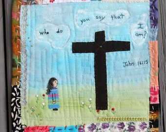 Mini Story Quilt Embroidery Beading Applique Painted Fabric Scripture Bible Cross Child John