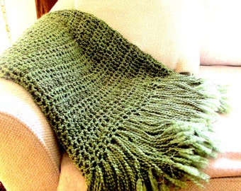 Throw Blanket  with Fringe- Olive Green Blanket, Afghan, Home Decor, Earth Tones Decor MADE TO ORDER, Rustic Soft