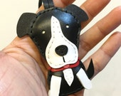 Small size - Peter the pitbull terrier cowhide leather charm ( Black )