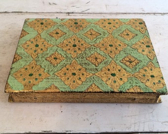 Italian Florentine Gesso Italy Wooden Triptych Book Jadeite Green and Gold