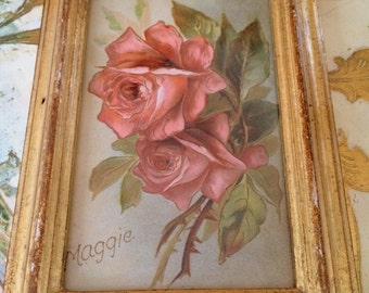 Rose Print in Italian Florentine Picture Frame with Name Maggie