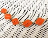 1950's CORO Tangerine Thermoset Link Bracelet