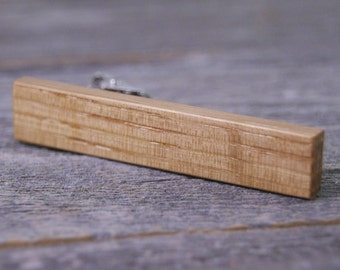 Tie Clip: French Red Wine Outer Barrel Oak Wood Tie Bar - Great for Wine Lovers!