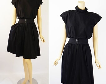Vintage 1980s Dress Black Jersey Knit Blouson Top with Full Skirt Sz S B38