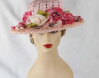 Vintage Hat Pink Straw Wide Brim with Silk Florals Sz 22