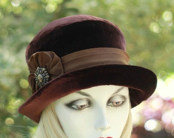 Downton Abbey Hat Wide Brimmed Chocolate Brown Velvet Bowler Riding Steampunk