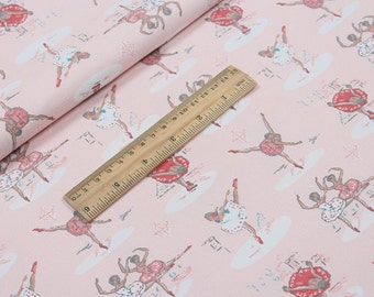 4226 - Cath Kidston Ballerinas (Light Pink) Cotton Canvas Fabric - 57 Inch (Width) x 1/2 Yard (Length)