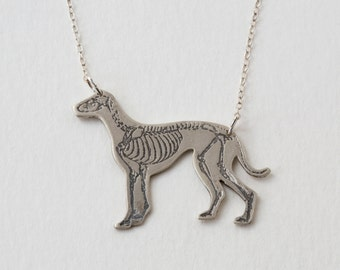 Greyhound Necklace - Dog Necklace - Skeleton Necklace - Silver Dog Jewelry - Whippet Necklace - Rescue Dogs