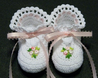 Crochet White Little Lady Slippers, Pink Flower, Pink Ribbons, Newborn Baby Girl, 0 - 3 Months