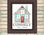 New Home Digital Print Typography Personalized