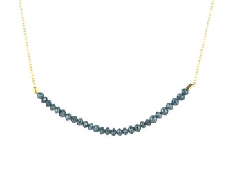 Blue Faceted Diamond Bead Bar Necklace on Solid 14k Gold Chain 6 cm Length