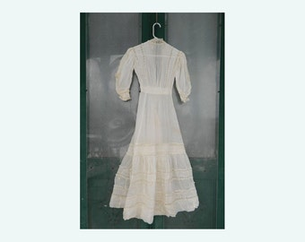 Frilly Victorian Dress XS Ivory Lawn with Lace & Pintucks