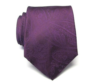 Mens Ties Eggplant Purple Paisley Mens Necktie With Matching Pocket Square Option