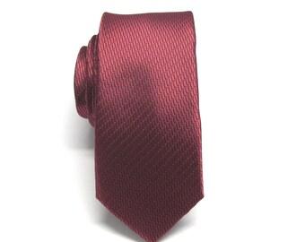 Mens Ties Red and Black Skinny Necktie