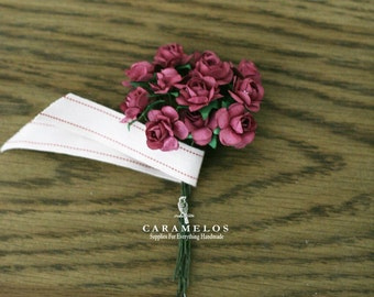 Miniature Wine Paper Roses Flowers