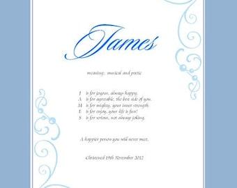 Personalised Name Poem for boys - unframed