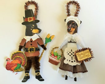 Manchester Terrier THANKSGIVING PILGRIM ornaments Dog ornaments vintage style chenille ORNAMENTS set of 2