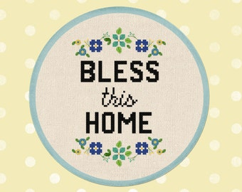 Bless This Home. Flowery Quote Wreath Modern Simple Cute Counted Cross Stitch Pattern PDF Instant Download