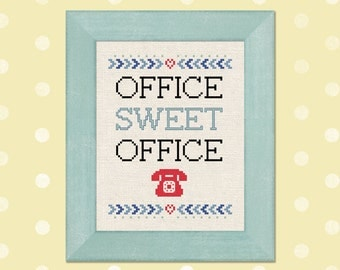 Office Sweet Office. Cross Stitch Pattern PDF Instant Download