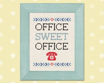 Office Sweet Office. Modern Simple Cute Quote Cross Stitch Pattern PDF Instant Download