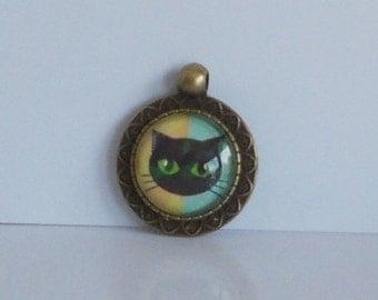 Kettenanhänger Cabochon Katze bronze