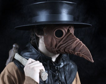 Stiltzkin leather plague doctor mask in light brown