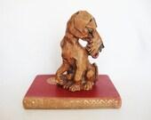 vintage carved wood terrier dog figurine sculpture