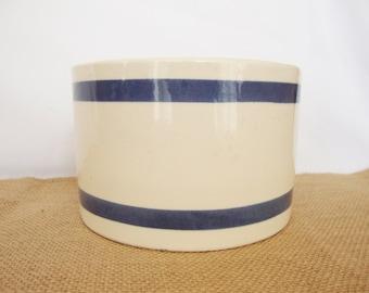 vintage farm house country style crock bowl blue stripe