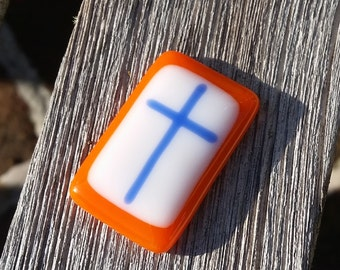 Comfort Pocket Cross Orange and Blue Fused Glass - Worry Stone - Christian Gift