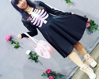 Skeleton Dress, Bone Dress, Pastel Goth Dress