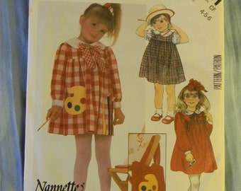 Vintage McCall's Children's Dress, Tie, Bag and Applique Pattern N2091 Size 4-6