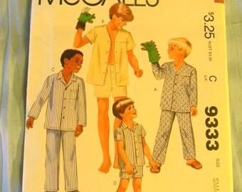 Vintage McCal's Child's Pajamas Pattern #9333 Uncut Size Small 7-8
