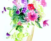 Art Print, French Country, Watercolor, Vase, Flower Arrangements, PRINT, Floral, Flower Art, Flowers, Flower Painting, Still Life Painting