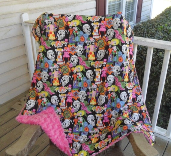 Large Sugar Skulls and Pink Rosebud Minky Blanket MINKY COLOR CHOICE