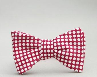 Eggplant self tie bow tie in polka dot  //  maroon bow tie for men // bow ties for boys // polka dot bow tie