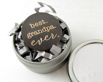 Gift for Grandpa, Father's Day Gift, Best Grandpa Ever, Engraved Pocket Token, Grandfather of Bride, Solid Brass, Golf Gift, E. Ria Designs