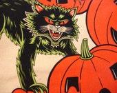 Halloween Fabric Destash – Pumpkin Party – Over 1/2 Yard, 100% Cotton, Large Halloween Print