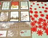 Fabric Destash – Winter's Lane Panel & Coordinating Poinsettia Fabric by Moda – Over 1 1/2 Yards, 100% Cotton