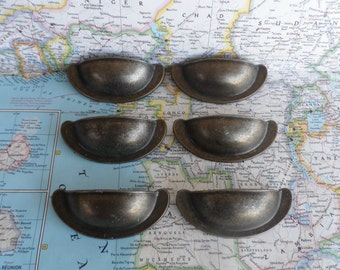 SALE! 6 dark brass metal bin pulls handles