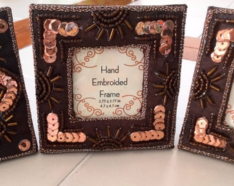 Hand Embroidered Picture Frames, Set of 3, small