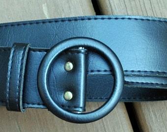 Vintage Black Faux Leather Belt - Vegan