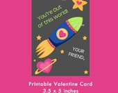 Space Valentine Card, Printable Card, Kids Valentine Cards, Valentine for Boys, Valentine for Girls