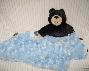 Security Blanket, Baby Blanket, Lovie - black bear - medium  Lovems