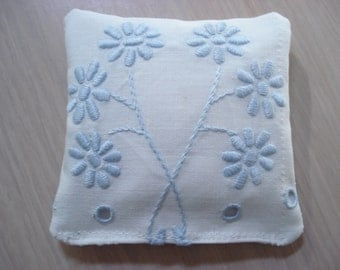 Blue Flower Embroidery Sachet - Padded Satin Stitch - Filled With Lavender