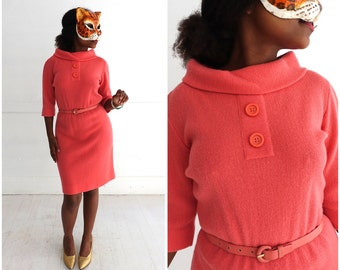 Vintage 1960's Bright Salmon Pink Knit Belted Sheath Dress By Kimberly | Small