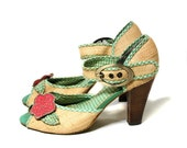 Retro Peep Toe Pumps, Gingham Raffia Pin Up Pumps, Straw Fabric Pumps, Vintage Cute 90s High Heels, Size 7