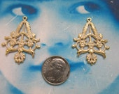 Gold Plated Frost White Patina Floral Filigree Brass Stampings 496WHT x2