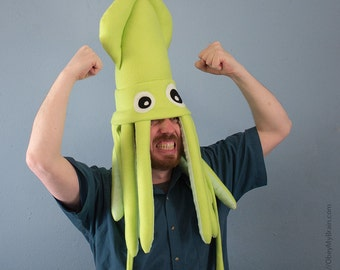 Large Plush Squid Hat - Lighter Lime Green
